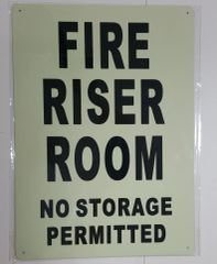 FIRE RISER ROOM NO STORAGE PERMITTED SIGN - PHOTOLUMINESCENT GLOW IN THE DARK SIGN (PHOTOLUMINESCENT ALUMINUM SIGNS 14X10)