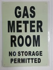 GAS METER ROOM NO STORAGE PERMITTED SIGN - PHOTOLUMINESCENT GLOW IN THE DARK SIGN (PHOTOLUMINESCENT ALUMINUM SIGNS 14X10)