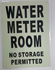 WATER METER ROOM NO STORAGE PERMITTED SIGN - PHOTOLUMINESCENT GLOW IN THE DARK SIGN (PHOTOLUMINESCENT ALUMINUM SIGNS 14X10)