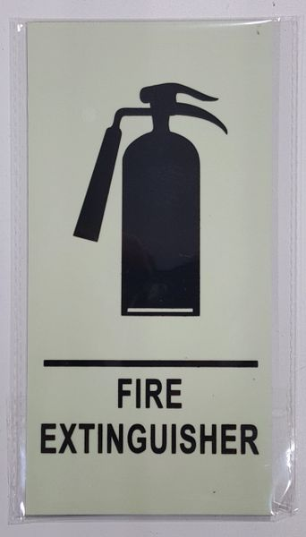 FIRE EXTINGUISHER SIGN - PHOTOLUMINESCENT GLOW IN THE DARK SIGN (PHOTOLUMINESCENT ALUMINUM SIGNS 8X4)
