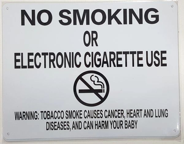 "NYC Smoke free Act Sign ""No Smoking or Electric cigarette Use"" - With Warning ( 8.5x11, White)"