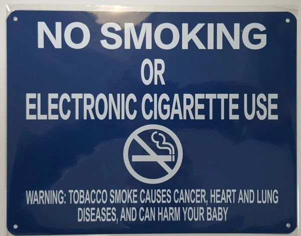 "NYC Smoke free Act Sign ""No Smoking or Electric cigarette Use"" - WITH WARNING( 8.5x11, BLUE)"