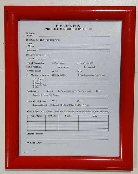 FIRE SAFETY PLAN FRAME - RED (STANDARD - ALUMINUM 8.5x11 ) (SAFETY- PLAN FRAMES 8.5X11)