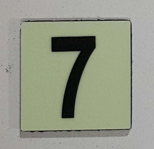 Glow in dark Number 7 sign The Liberty Line (Aluminum SIGNS 1x1, 3 RCNY §505-01)