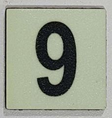 Glow in dark Number 9 sign The Liberty Line (Aluminum SIGNS 1x1, 3 RCNY §505-01)