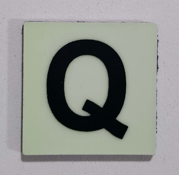 Glow in dark Number Q sign The Liberty Line (Aluminum SIGNS 1x1, 3 RCNY §505-01)