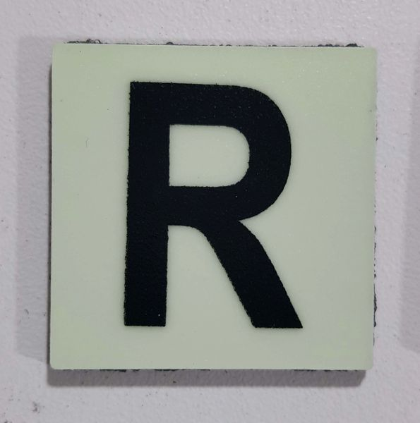 Glow in dark Number R sign The Liberty Line (Aluminum SIGNS 1x1, 3 RCNY §505-01)