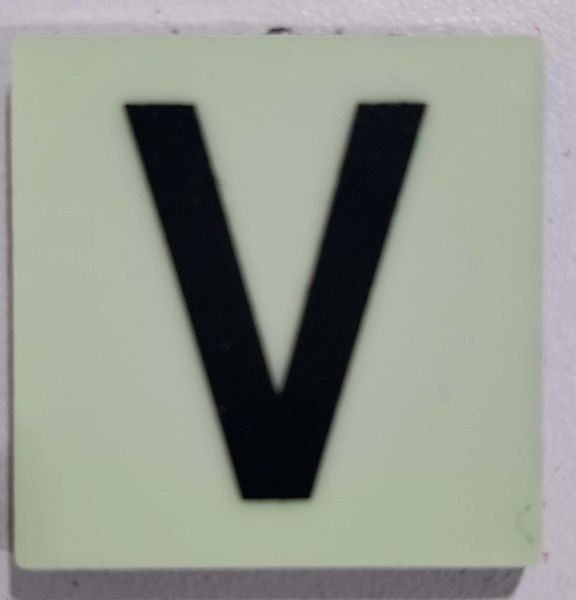 Glow in dark Number V sign The Liberty Line (Aluminum SIGNS 1x1, 3 RCNY §505-01)