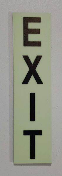 Glow in dark Number EXIT sign The Liberty Line (Aluminum SIGNS 1x4, 3 RCNY §505-01)