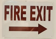 FIRE EXIT RIGHT SIGN- WHITE BACKGROUND (ALUMINUM SIGNS 10X14)