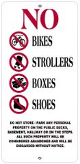 NO BIKES, STROLLERS, BOXES AND SHOES IN PUBLIC AREAS SIGN- WHITE BACKGROUND (ALUMINUM SIGNS 12.6X6)