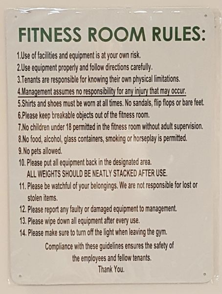 FITNESS ROOM RULES SIGN- WHITE BACKGROUND (ALUMINUM SIGNS 16X12)