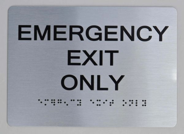 Emergency EXIT ONLY ADA SIGN The sensation line
