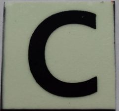 PHOTOLUMINESCENT DOOR NUMBER C SIGN (GLOW IN THE DARK HIGH INTENSITY SELF STICKING PVC HEAVY DUTY STICKER SIGN AND APT # MARKING 1X1)