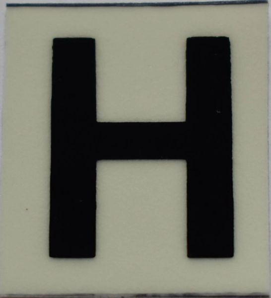 PHOTOLUMINESCENT DOOR NUMBER H SIGN (GLOW IN THE DARK HIGH INTENSITY SELF STICKING PVC HEAVY DUTY STICKER SIGN AND APT # MARKING 1X1)