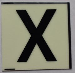 PHOTOLUMINESCENT DOOR NUMBER X SIGN (GLOW IN THE DARK HIGH INTENSITY SELF STICKING PVC HEAVY DUTY STICKER SIGN AND APT # MARKING 1X1)