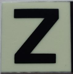 PHOTOLUMINESCENT DOOR NUMBER Z SIGN (GLOW IN THE DARK HIGH INTENSITY SELF STICKING PVC HEAVY DUTY STICKER SIGN AND APT # MARKING 1X1)