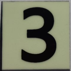 PHOTOLUMINESCENT DOOR NUMBER 3 SIGN (GLOW IN THE DARK HIGH INTENSITY SELF STICKING PVC HEAVY DUTY STICKER SIGN AND APT # MARKING 1X1)