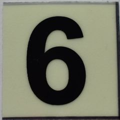 PHOTOLUMINESCENT DOOR NUMBER 6 SIGN (GLOW IN THE DARK HIGH INTENSITY SELF STICKING PVC HEAVY DUTY STICKER SIGN AND APT # MARKING 1X1)