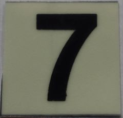 PHOTOLUMINESCENT DOOR NUMBER 7 SIGN (GLOW IN THE DARK HIGH INTENSITY SELF STICKING PVC HEAVY DUTY STICKER SIGN AND APT # MARKING 1X1)