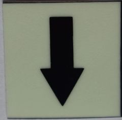 GLOW IN DARK DOWNWARDS ARROW EMERGENCY MARKING SIGN (GLOW IN THE DARK HIGH INTENSITY SELF STICKING PVC HEAVY DUTY STICKER SIGN AND APT # MARKING 1X1)