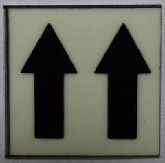 GLOW IN DARK UPWARDS ARROW EMERGENCY MARKING SIGN (GLOW IN THE DARK HIGH INTENSITY SELF STICKING PVC HEAVY DUTY STICKER SIGN AND APT # MARKING 1X1)
