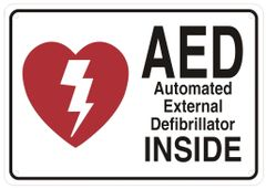 AED INSIDE SIGN- AUTOMATED DEFIBRILLATOR INSIDE SIGN (ALUMINUM SIGNS 7X10)