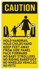 ESCALATOR RULES SIGN (ALUMINUM SIGNS 9X5)