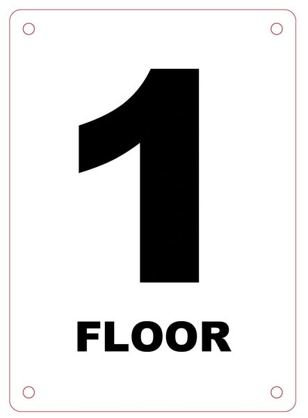 FLOOR NUMBER ONE (1) SIGN - ALUMINIUM