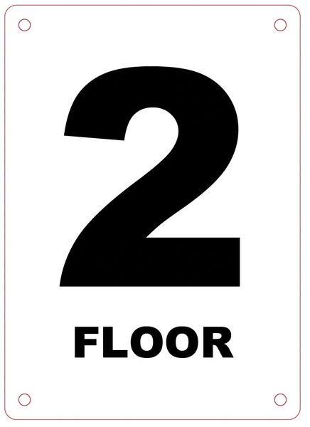 FLOOR NUMBER TWO (2) SIGN - ALUMINIUM