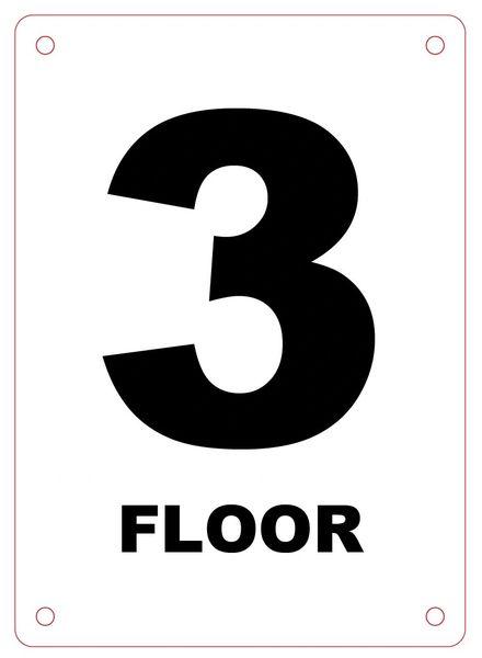 FLOOR NUMBER THREE (3) SIGN - ALUMINIUM