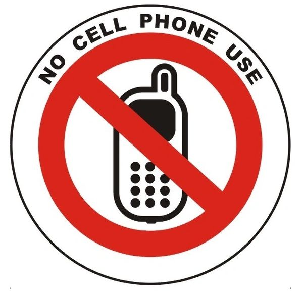NO CELL PHONE USE SIGN (ROUND CIRCLE ALUMINUM SIGNS, 3'' DIAMETER)