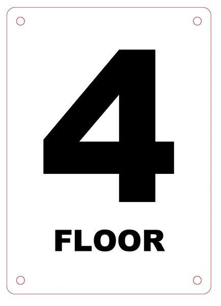 FLOOR NUMBER FOUR (4) SIGN - ALUMINIUM