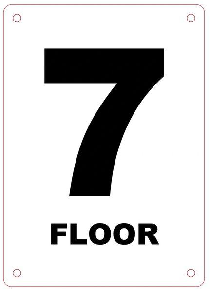 FLOOR NUMBER SEVEN (7) SIGN - ALUMINIUM