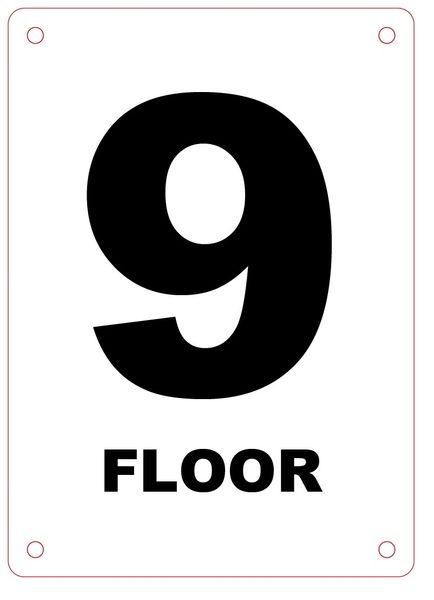 FLOOR NUMBER NINE (9) SIGN