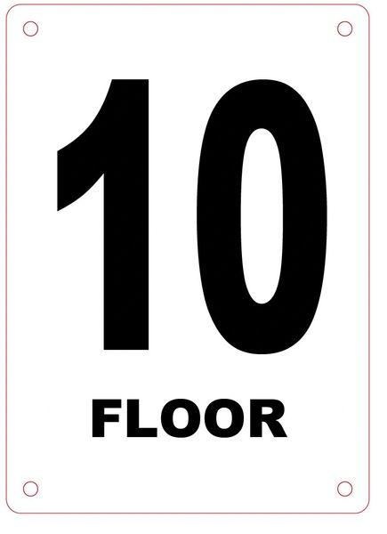 FLOOR NUMBER TEN (10) SIGN - ALUMINIUM