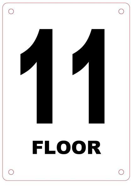 FLOOR NUMBER ELEVEN (11) SIGN - ALUMINIUM