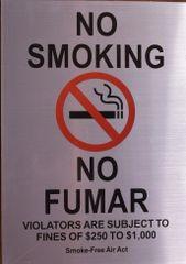 NO SMOKING NO FUMAR SIGN (ALUMINUM SIGNS 12x8.5)