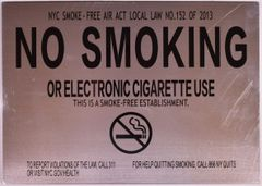 NO SMOKING OR ELECTRONIC CIGARETTE USE SIGN (ALUMINUM SIGNS 8.5X9)
