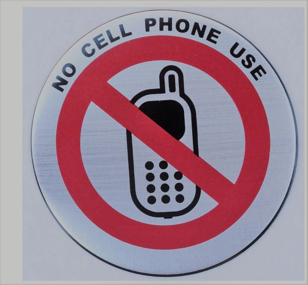 NO CELL PHONE USE SIGN (ROUND CIRCLE ALUMINUM SIGNS, DIAMETER 3'' )