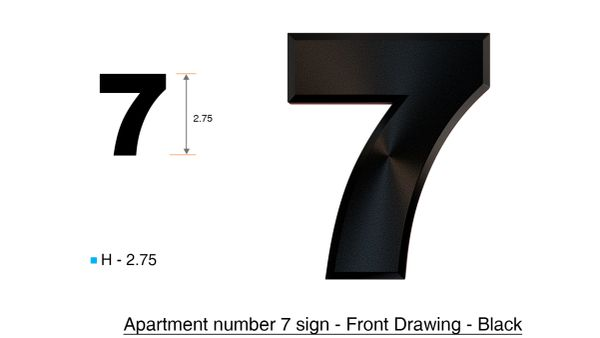 DOB SIGNS: 7 SIGN– BLACK (PLASTIC NUMBERS FOR MAIL BOXES IN NYC)