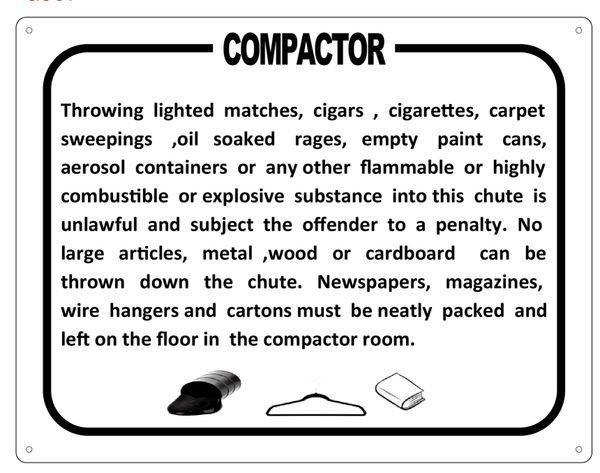 COMPACTOR SIGN (ALUMINIUM)