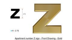 ILBOX LETTER Z SIGN - LETTER SIGN Z- GOLD (HIGH QUALITY PLASTIC DOOR SIGNS 0.25 THICK)