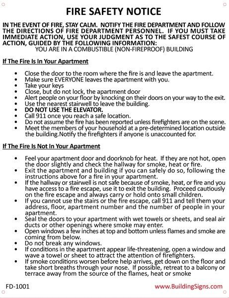 Fire Department Notice - Fire Safety Notice: Combustible Buildings Sign