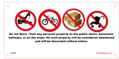 NO STORAGE IN HALLWAY SIGN (NYC CODE 1027.4.5 PERSONAL PROPERTY) (10x5)