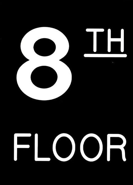 Floor number Eight (8) sign Engraved Plastic (FLOOR NUMBER SIGNS 4.5X6)