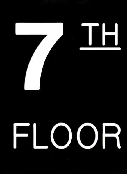 Floor number Seven (7) sign Engraved Plastic (FLOOR SIGNS 4.5X6)