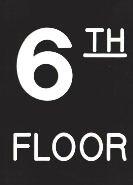 Floor number Six (6) sign Engraved Plastic (FLOOR SIGNS 4.5X6)