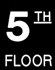 Floor number Five (5) sign Engraved Plastic (FLOOR SIGNS 4.5X6)