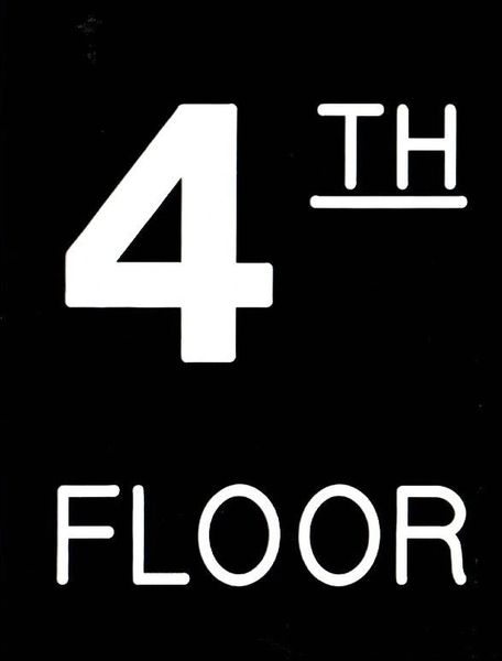 Floor number Four (4) sign Engraved Plastic (FLOOR SIGNS 4.5X6)